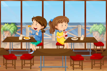 Two girls eating in the canteen illustration