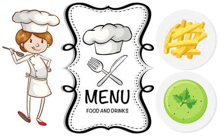 kulinarne: Chef and different dish on menu illustration