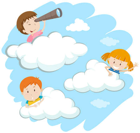 clouds: Happy kids behind the clouds illustration