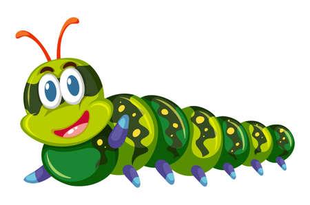 crawling creature: Green caterpillar smiling on white background illustration Illustration