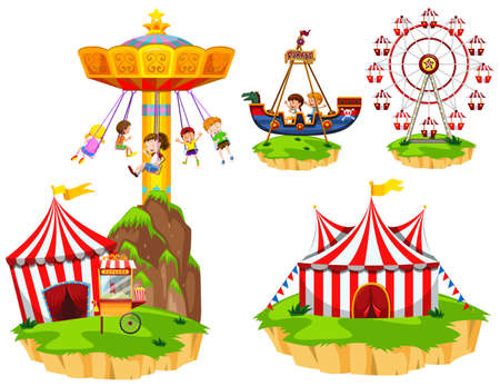 Kids on different types of rides at park illustration