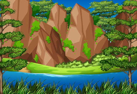 cliffs: River scene with mountains in forest illustration
