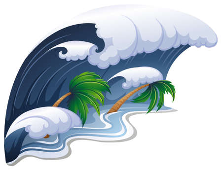 sea disaster: Giant waves over the trees illustration Illustration