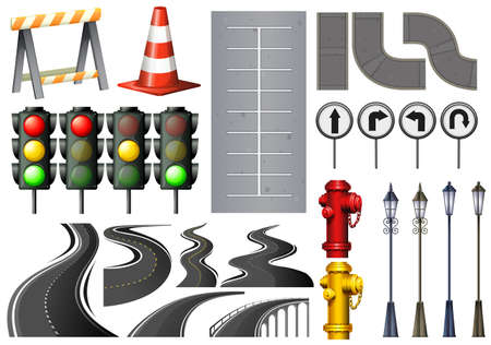 Different items and safety equipment for traffic illustration