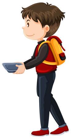 Schoolboy walking with food tray illustration