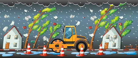 rainstorm: Rainstorm in the city illustration