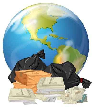 Dirty trash on earth illustration Illustration