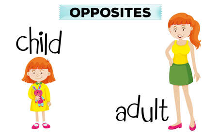 adolescent girl: Opposite wordcard with child and adult illustration