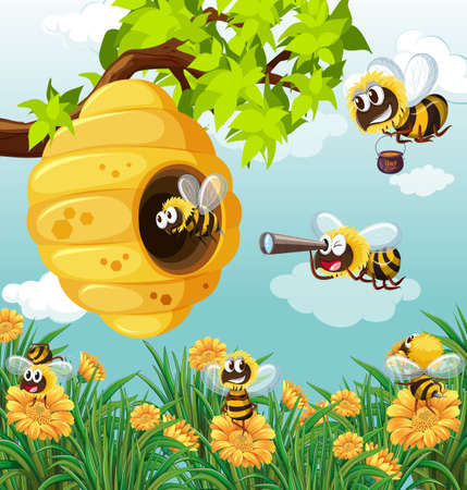 Many bees flying in garden illustration Illustration