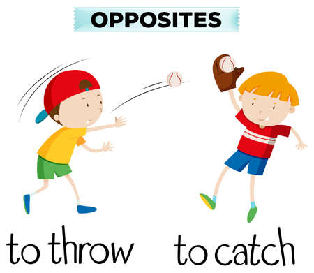 Opposite words with throw and catch illustration Vectores