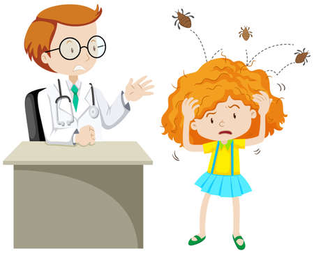 lice: Doctor examining girl with head lice illustration Vectores