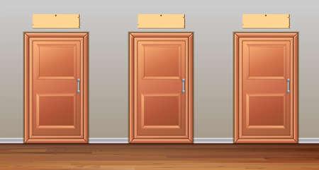 wooden doors: Three wooden doors in the hallway illustration