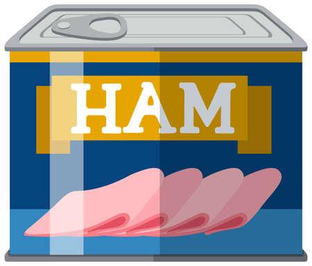 aluminum: Sliced ham in aluminum can illustration