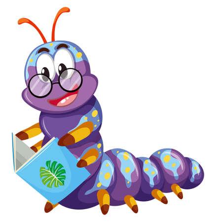 Purple caterpillar reading book illustration Illustration