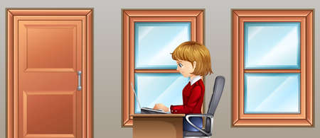 secretary: Woman working in room illustration