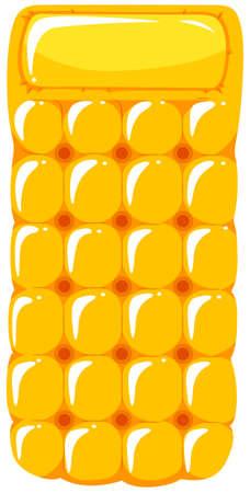 Yellow floating mat on white background illustration
