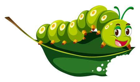 Cute caterpillar chewing green leaf illustration Illustration