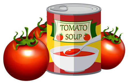 Fresh tomato and tomato soup in can illustration