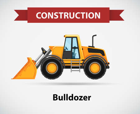 construction icon: Construction icon with bulldozer illustration