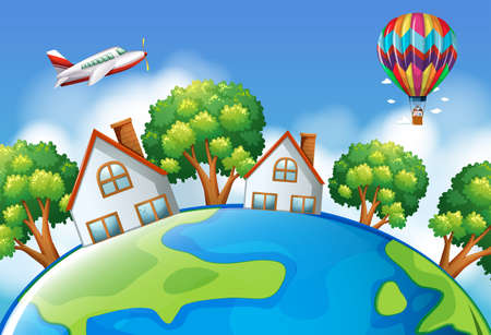engine: Airplane and balloon flying over the world illustration Illustration