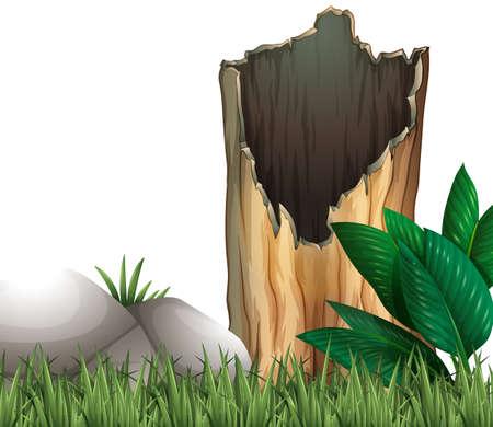botanical gardens: Wooden log and rock on grassland illustration Illustration