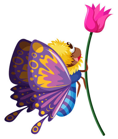 butterfly flower: Butterfly flying by the pink flower illustration