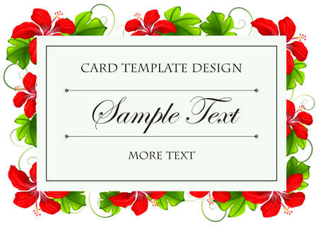 borders plants: Card template design with red flowers illustration