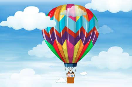 Kinderen rijden op grote ballon illustratie