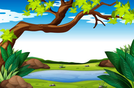 Nature scene with tree and pond illustration