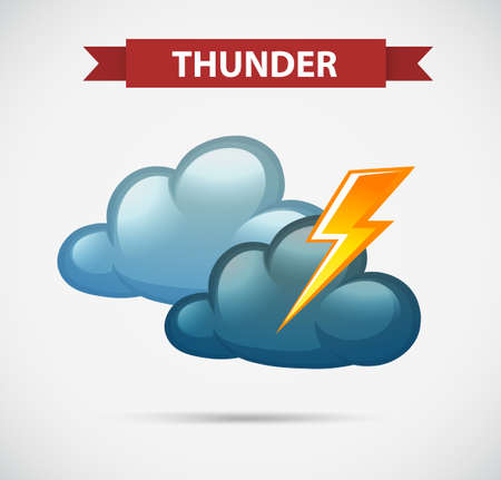 clouds: Weather icon for thunder illustration