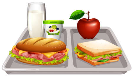 food tray: Food tray with milk and sandwiches illustration Illustration