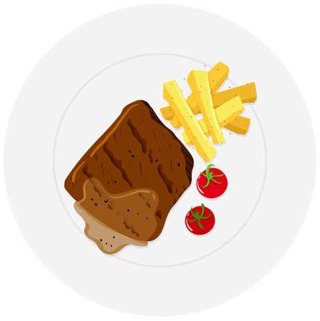steak plate: Beef steak and fries on plate illustration