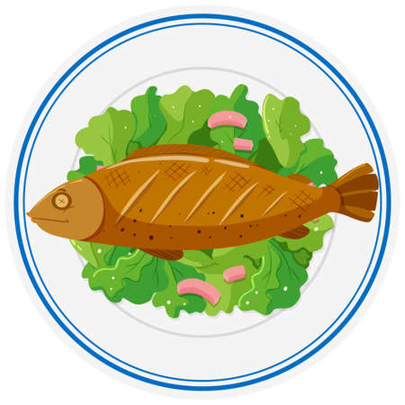 1 997 drawing fish dish stock vector illustration and royalty free rh 123rf com Fish Fry Flyer Template Animated Fish On a Plate