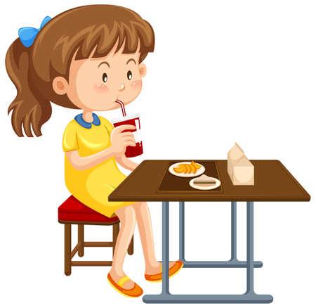 Mädchen, das Mittagessen auf dem Tisch Illustration