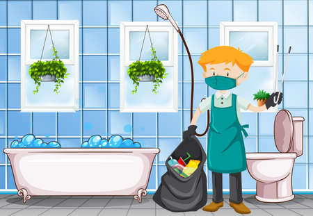 dirty: Male janitor cleaning the toilet illustration Illustration