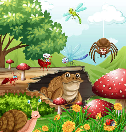 daytime: Different types of insects in garden at daytime illustration