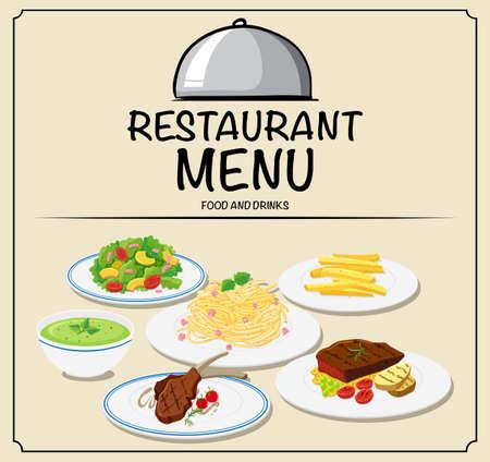 steak plate: Restaurant menu with different food illustration