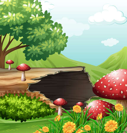 alpine plants: Scene with wooden log and mushrooms illustration
