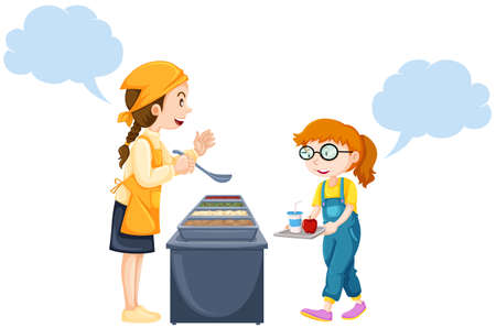 Girl getting food from woman in canteen illustration