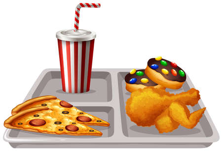 food tray: Tray with food and drink illustration Illustration