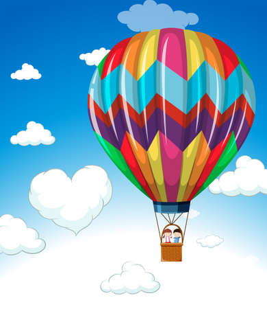 clouds: Colorful balloon flying in blue sky illustration