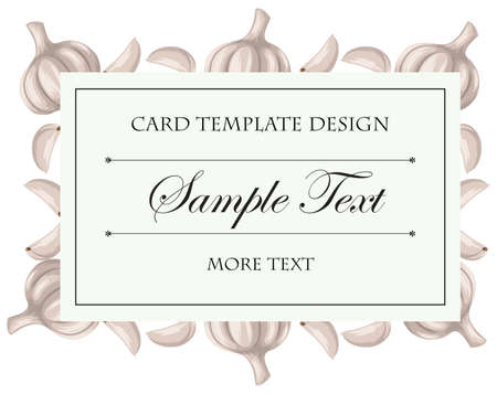 square image: Card template with fresh garlic illustration