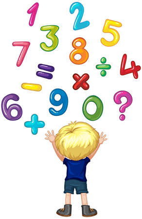 two child: Boy counting numbers on wall illustration