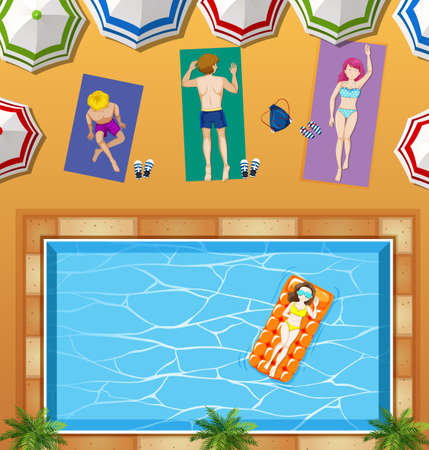 water: People relaxing at swimming pool illustration