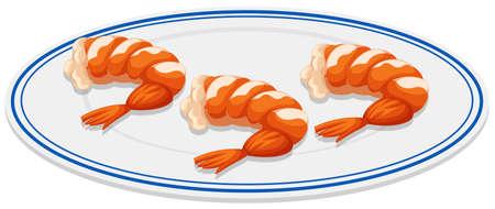 Cocktail shrimps on round plate illustration