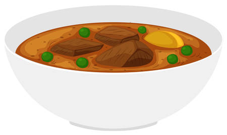 Bowl of beef stew with vegetables illustration