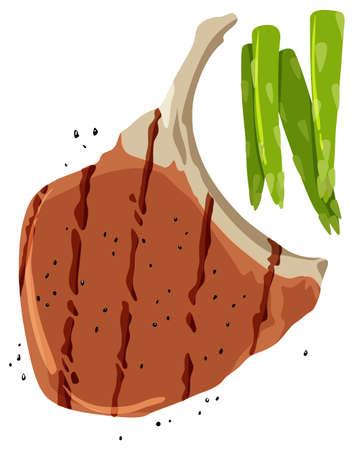Pork chop and asparagus on white background illustration Illustration