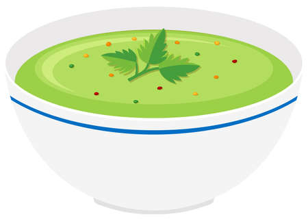 vegetable soup: Bowl of vegetable cream soup illustration Illustration