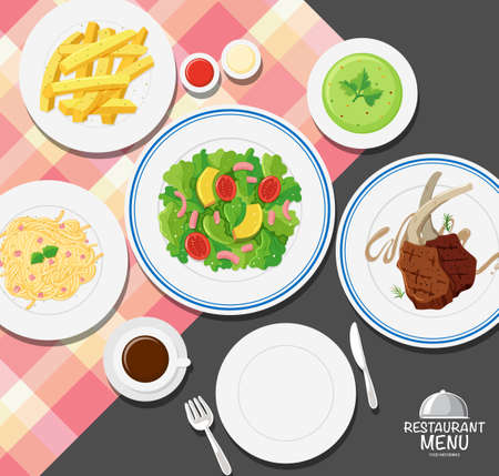 Different types of food on dining table illustration Illustration