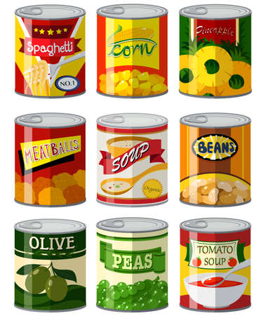 Different types of food in can illustration Illustration